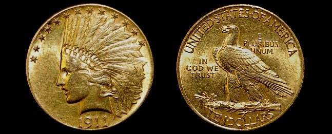 91: 1911 US Indian head 10 dollar gold coin XF