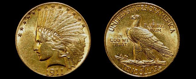91: 1911 US Indian head 10 dollar gold coin XF