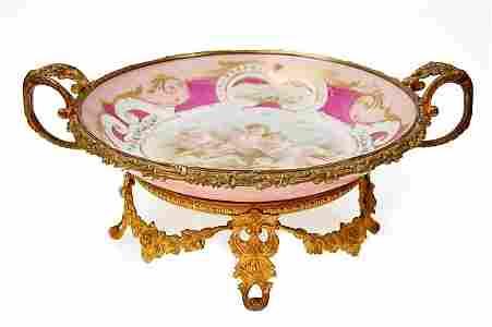 167A: Sevres hand-painted porcelain center bowl