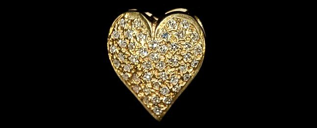 4: Vintage 14K diamond heart pin