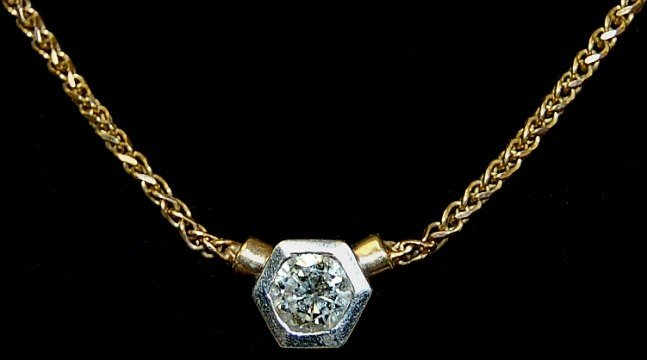"5: 14K diamond solitaire 16"" necklace"