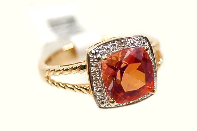 10: 14K twilight mystic topaz diamond ring