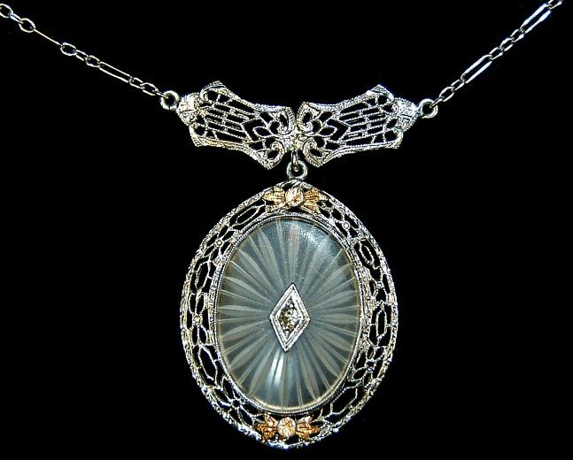 "12: 14K filigree crystal diamond 15"" necklace"