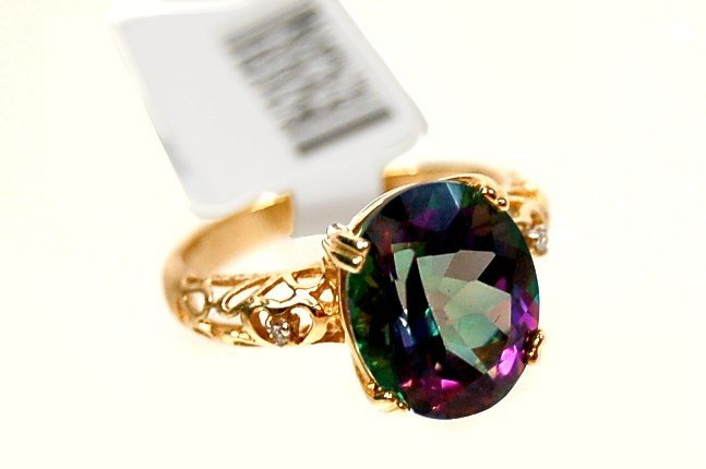 13: 14K mystic topaz and diamond ring