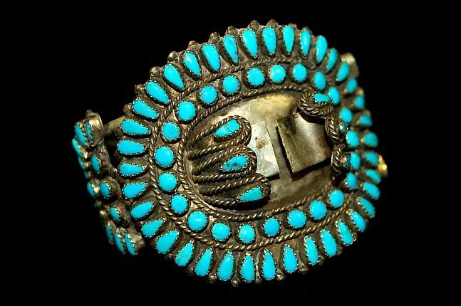 19: Zuni sterling petit point turquoise watch cuff