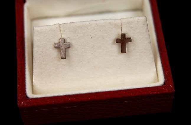 2: Platinum cross earrings