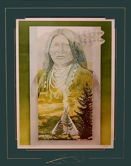 5: J. Andrews Lim. Ed. print of an Indian Chief