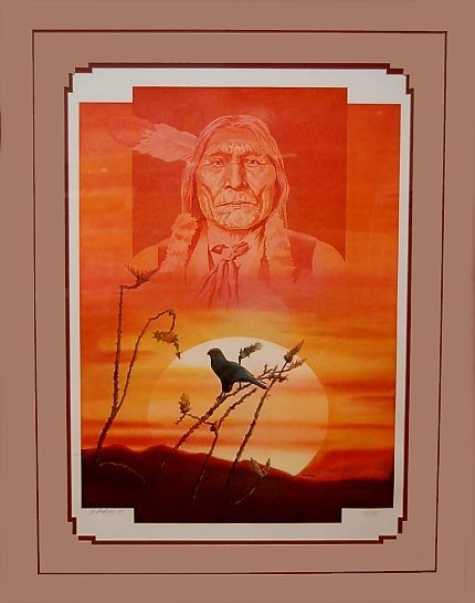 6: J. Andrews Lim. Ed. print Indian of Chief and hawk