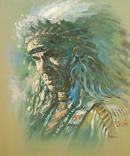 26: B. Gint original oil of an Indian Chief