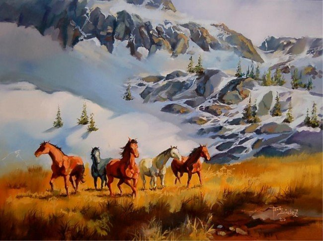 29: Triura Sanchez original oil of wild horses