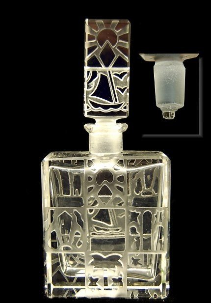 35: Czech Ingrid crystal frosted glass perfume