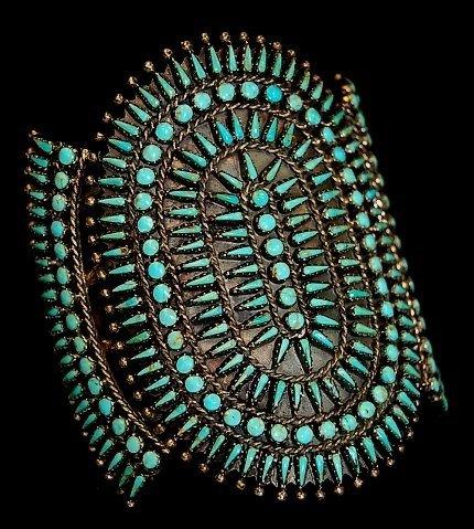 """69: Zuni needlepoint sterling 3 3/8"""" turquoise cuff"""