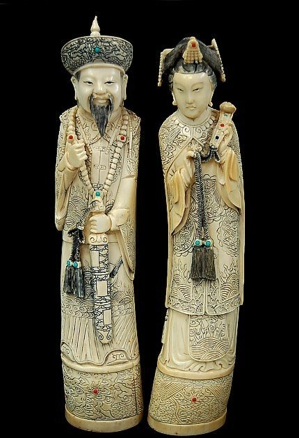 "185: Pair of early Japanese 12"" ivory figurines"