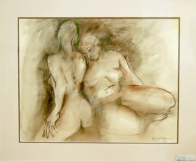 163: R. C. Gorman original charcoal, pastel painting