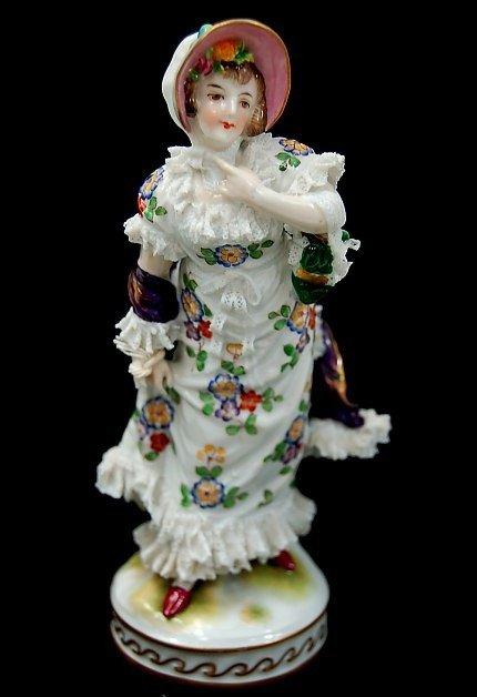 "15: Antique German porcelain 6.75"" figurine"