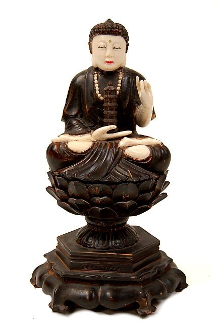 22: Chinese carved ivory and wood Buddha
