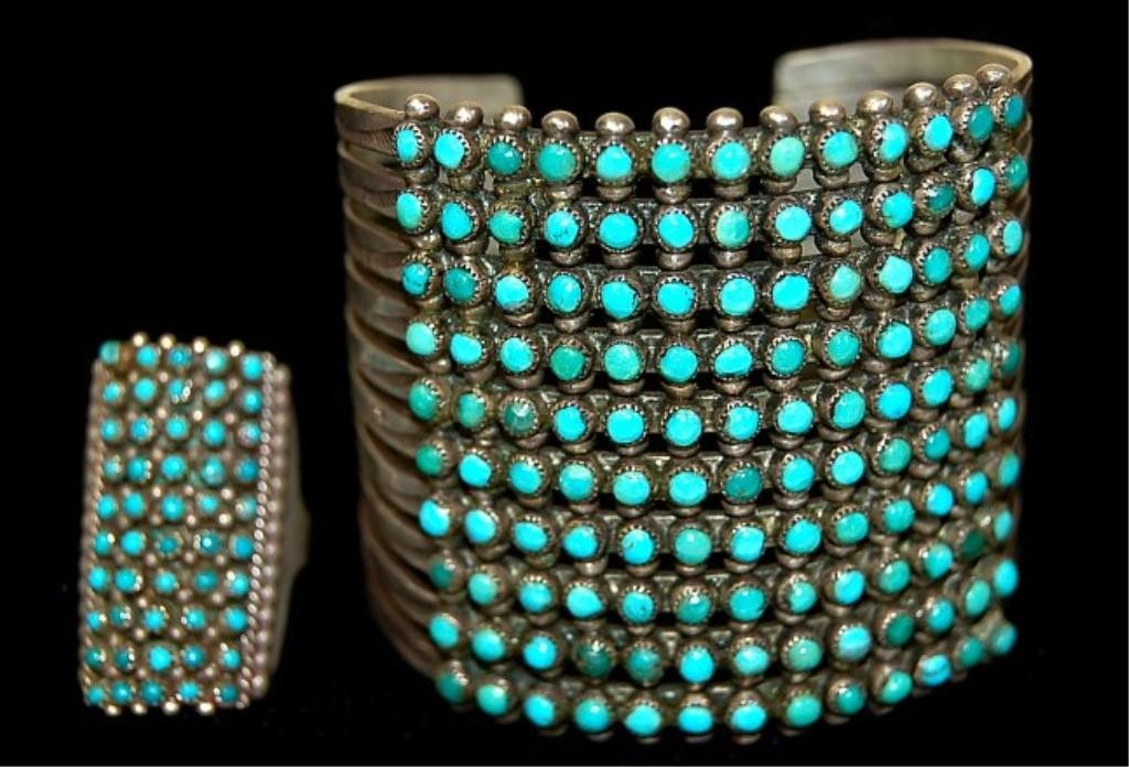 191: Zuni old pawn sterling 10 band cuff and ring