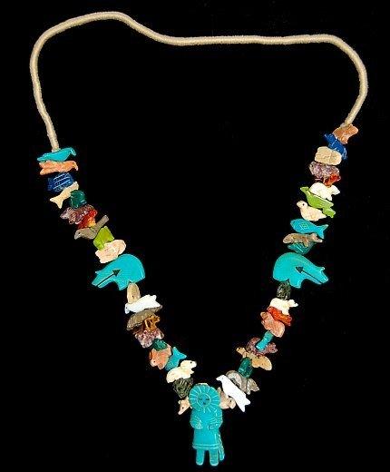 """5: Vintage Zuni 30"""" fetish necklace"""