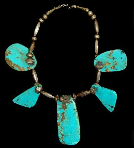 7: Vintage Navajo sterling 5 slab necklace