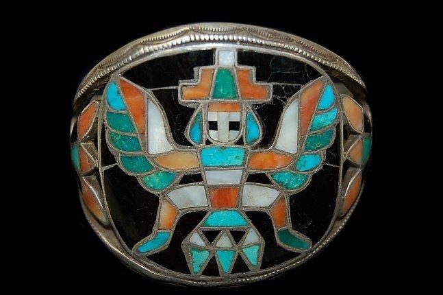 9: Vintage Zuni sterling cuff with Thunderbird dancer