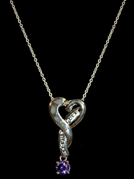 6: Contemporary sterling inlaid heart pendant