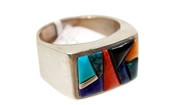 10A: Calvin Begay multi-stone inlaid man's ring