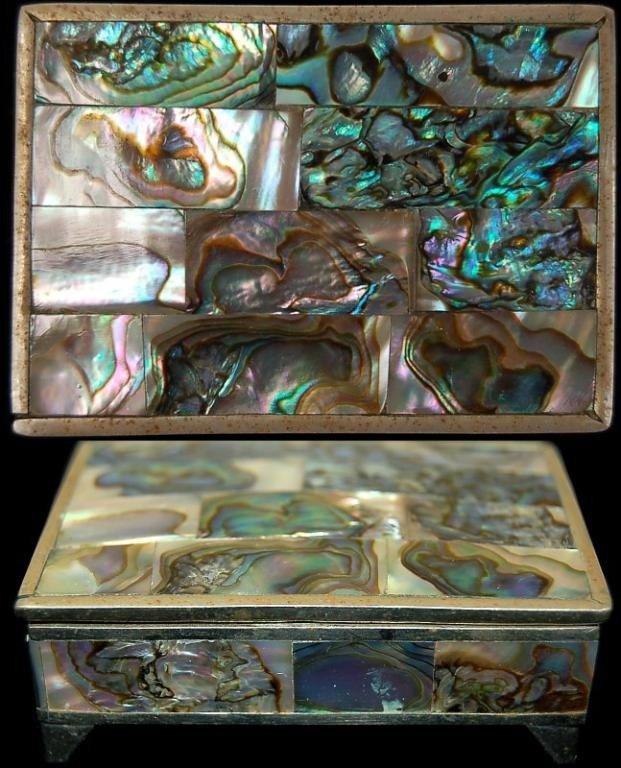 11A: Mexican Alpaca silver abalone shell pill box