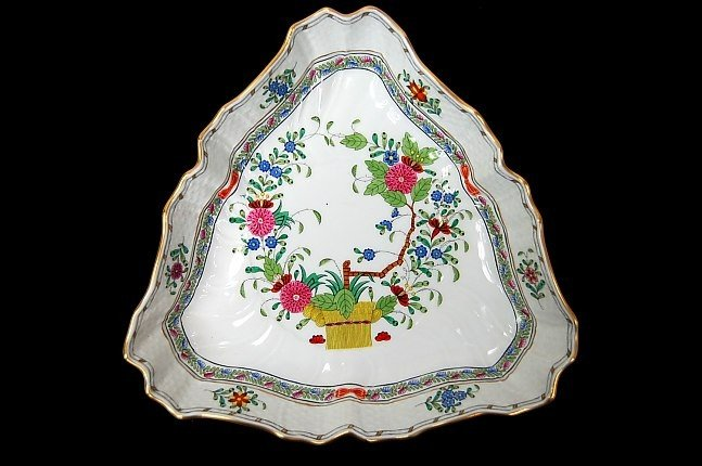 13: Herend porcelain triangular hand painted bowl