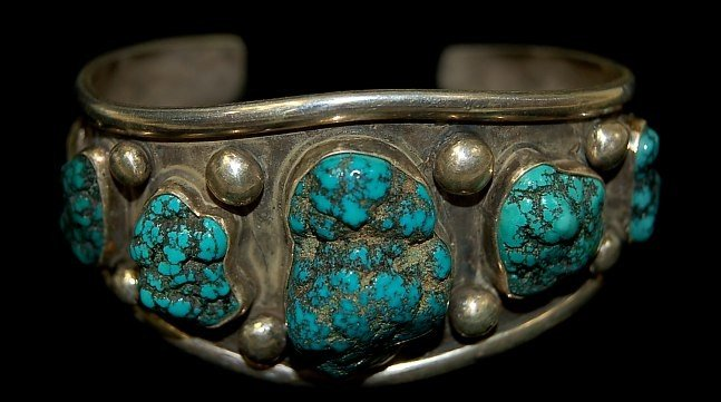 16: Vintage Navajo sterling 5 stone cuff