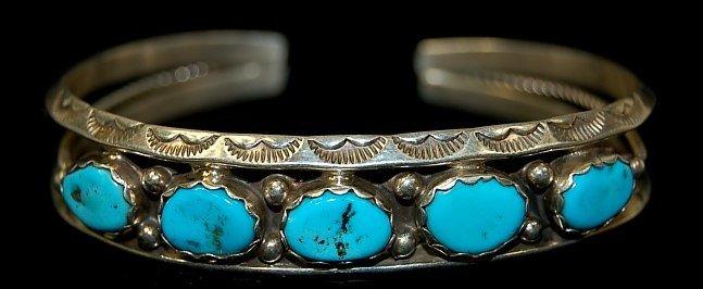 20: Navajo sterling KIngman turquoise cuff