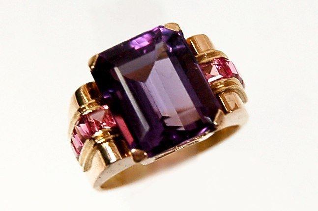 41: 18K rose gold amethyst tourmaline ring