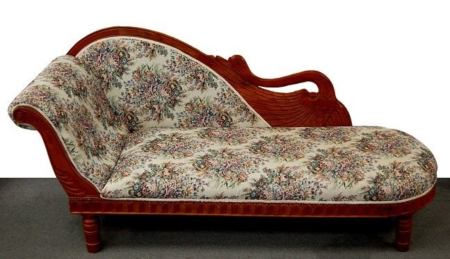 93: Art Deco carved wood swan form fainting couch