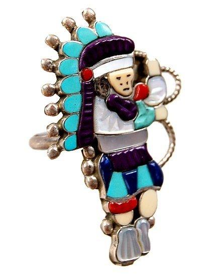 1: Zuni sterling hand made hoop dancer ring