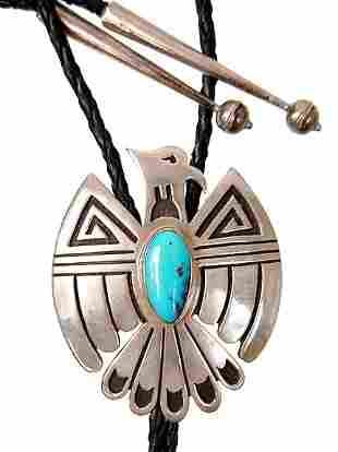 Hopi sterling turquoise Thunderbird bolo