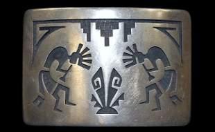 Hopi sterling Kokopelli belt buckle