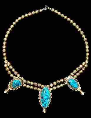 """Navajo sterling turquoise blossom 20"""" necklace"""