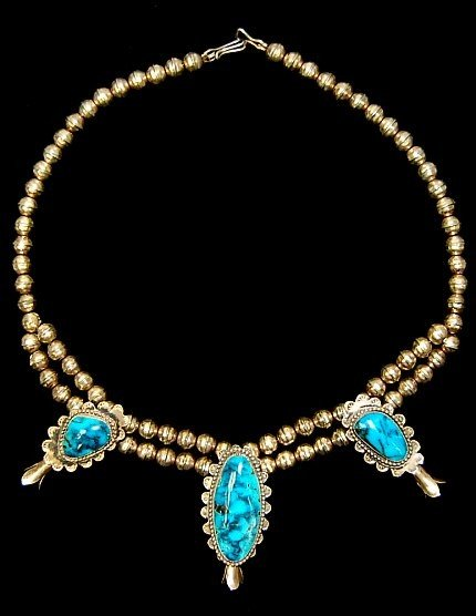 """7: Navajo sterling turquoise blossom 20"""" necklace"""