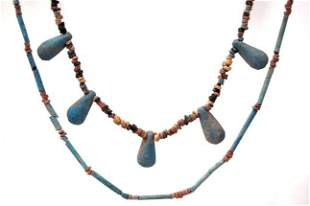 2 ancient Egyptian mummy bead necklaces