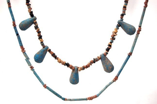 9: 2 ancient Egyptian mummy bead necklaces