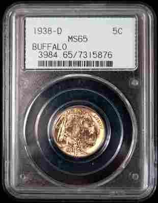 1938-D buffalo nickel MS 65