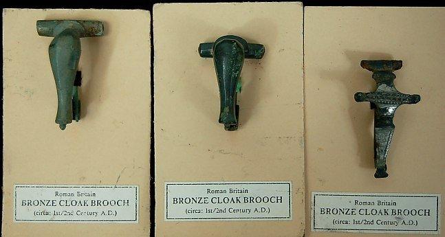 15: Roman Britian lot of 3 bronze cloak brooches