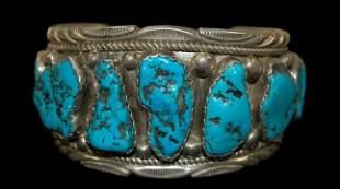 Navajo sterling KIngman turquoise cuff