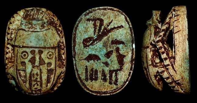 21: Egyptian green faience scarab