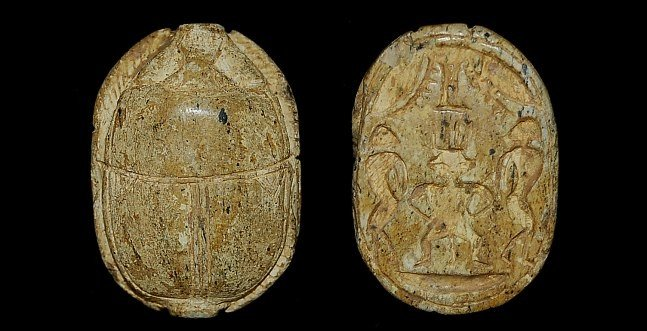 24: Egyptian large green schist scarab