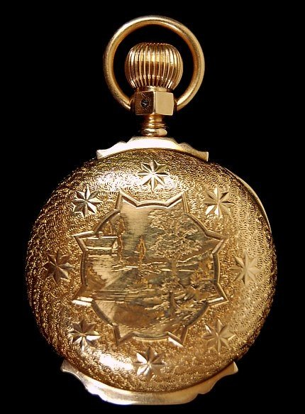 93: 1890 American Waltham 14K pocket watch