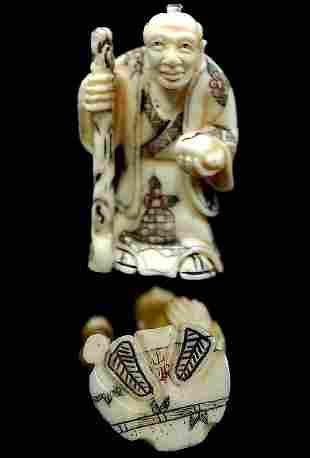 Japanese carved bone netsuke