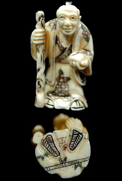 1: Japanese carved bone netsuke
