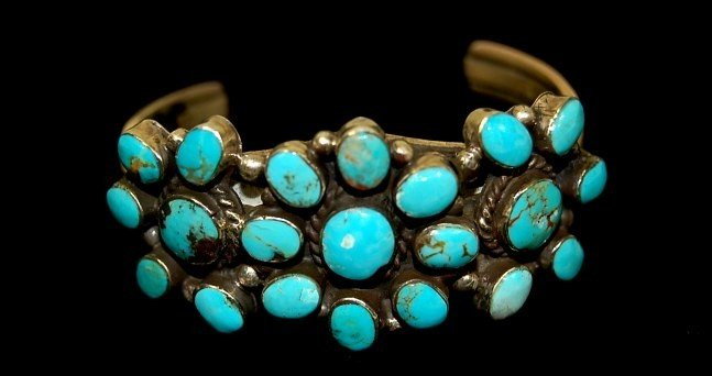 4: Navajo sterling turquoise old pawn lady's cuff