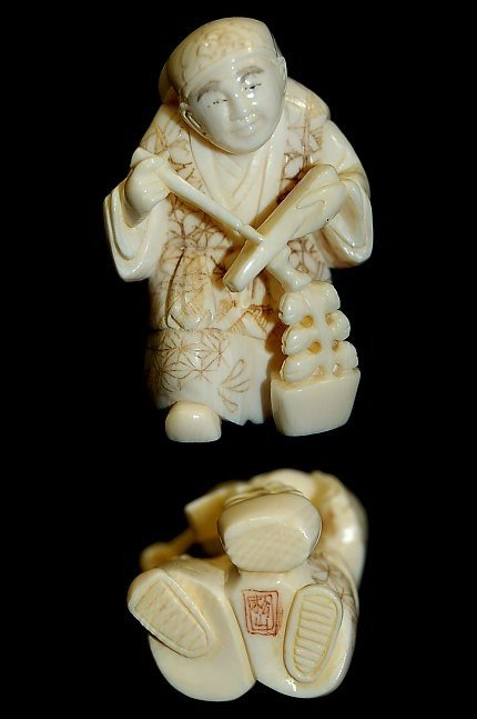 5: Japanese carved ivory netsuke