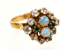 Estate 10K opal, white sapphire and emerald ring